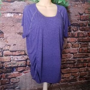 Purple Short Sleeve Cinched Sides Active Top